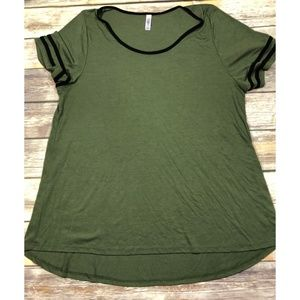 LuLaRoe Classic Tee Solid Army Green Knit Top